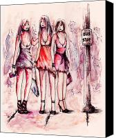 Fantasy Fairy Drawings Canvas Prints - Girls Night Out Canvas Print by Rachel Christine Nowicki
