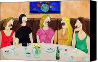 Night Out Painting Canvas Prints - Girls Night Out Canvas Print by Sal Marino