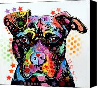 Dog Art Canvas Prints - Give Love Pitbull Canvas Print by Dean Russo