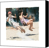 School Yard Canvas Prints - Give Me A Push Canvas Print by Bob Salo