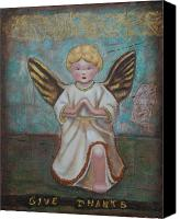 Gold Angel Card Canvas Prints - Give Thanks Canvas Print by Lori Gilroy