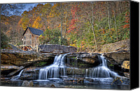 Grist Mill Canvas Prints - Glade Creek Grist Mill at Babcock Canvas Print by Williams-Cairns Photography LLC