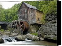 Grist Mill Canvas Prints - Glade Creek Grist Mill located in Babcock State Park West Virginia Canvas Print by Brendan Reals