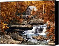 Foliage Canvas Prints - Glade Creek Mill in Autumn Canvas Print by Tom Mc Nemar