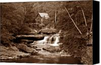 Old Wheel Canvas Prints - Glade Creek Mill in Sepia Canvas Print by Tom Mc Nemar