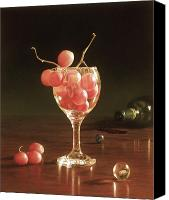 Spilled Wine Canvas Prints - Glass Grapes and Marbles Canvas Print by Barbara Groff