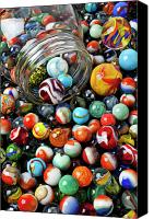 Spheres Canvas Prints - Glass jar and marbles Canvas Print by Garry Gay