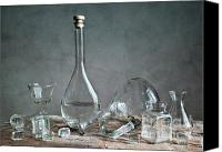 Glass Bottles Canvas Prints - Glass Canvas Print by Nailia Schwarz