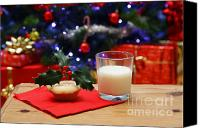 Father Christmas Canvas Prints - Glass of milk and a mince pie for Santa Canvas Print by Richard Thomas
