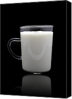 Cow Ceramics Canvas Prints - Glass of milk  Canvas Print by Natthawut Punyosaeng