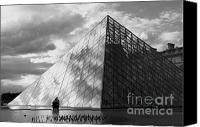 Travel Destination Canvas Prints - Glass pyramid. Louvre. Paris.  Canvas Print by Bernard Jaubert