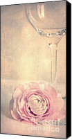 Glass Canvas Prints - Glass with flower Canvas Print by Kristin Kreet