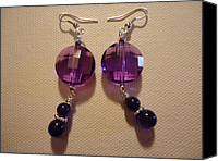 Glitter Earrings Jewelry Canvas Prints - Glitter Me Purple Earrings Canvas Print by Jenna Green