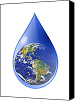 Water Cycle Canvas Prints - Global Water Supply, Conceptual Image Canvas Print by Victor De Schwanberg