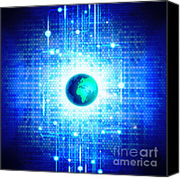 Global Digital Art Canvas Prints - Globe With Technology Background Canvas Print by Setsiri Silapasuwanchai