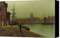 Grimshaw Canvas Prints - Gloucester Docks Canvas Print by John Atkinson Grimshaw