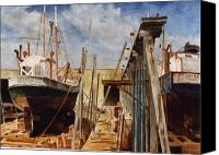 Harbor Art Painting Canvas Prints - Gloucester Marine Railway Canvas Print by Phil Cusumano