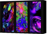Comtemporary Canvas Prints - Glow And Flow triptych Canvas Print by Terril Heilman