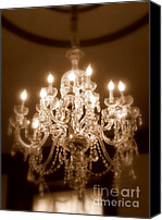 Chandelier Canvas Prints - Glow from the Past Canvas Print by Karen Wiles
