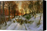 Winter Canvas Prints - Glowed with Tints of Evening Hours Canvas Print by Joseph Farquharson