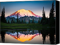 Evergreens Canvas Prints - Glowing Peak Canvas Print by Inge Johnsson