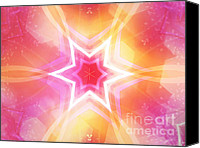 Ornamental Digital Art Canvas Prints - Glowing Star Canvas Print by Ann Croon