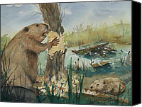 Beaver Painting Canvas Prints - Gnawing Beaver Canvas Print by Barbara McGeachen