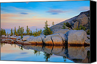 Alpine Canvas Prints - Gnome Tarn Rocks Canvas Print by Inge Johnsson