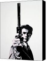 Clint Eastwood Canvas Prints - Go Ahead Punk Make My Day Canvas Print by Luis Ludzska