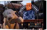 Detroit Tigers Canvas Prints - Go Get Um Tiger Canvas Print by Dawn Williams