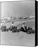 Cart Driving Canvas Prints - Go Go Cart Girls Canvas Print by General Photographic Agency