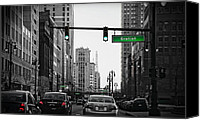 Crosswalk Canvas Prints - Go Go Gratiot Canvas Print by Gordon Dean II