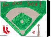Red Sox Mixed Media Canvas Prints - Go Red Sox Canvas Print by Rosemary Mazzulla