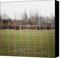 Field Sports Canvas Prints - Goal Nets on Soccer Field Canvas Print by Jetta Productions, Inc