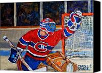 Hockey In Montreal Painting Canvas Prints - Goalie Makes The Save Stanley Cup Playoffs Canvas Print by Carole Spandau