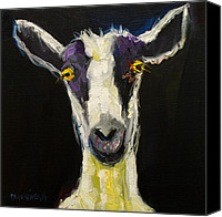 Wall Painting Canvas Prints - Goat Gloat Canvas Print by Diane Whitehead