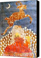 Fantasy Tapestries - Textiles Canvas Prints - Goat Leaping Over Wood Elf Canvas Print by Carol  Law Conklin