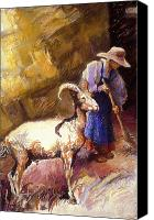 Goat Pastels Canvas Prints - Goat with a Sweeper Canvas Print by Ellen Dreibelbis
