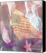 4th July Canvas Prints - God Bless the USA Canvas Print by Cheryl Young