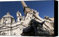 Mythological Canvas Prints - God of the River Ganges. Fontana dei Quattro Fiumi. Piazza Navona. Rome Canvas Print by Bernard Jaubert