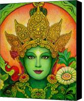 Buddha Art Canvas Prints - Goddess Green Taras Face Canvas Print by Sue Halstenberg