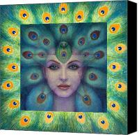 Feathers Painting Canvas Prints - Goddess Isis Visions Canvas Print by Sue Halstenberg