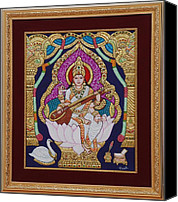 Gold Foil Canvas Prints - Goddess Saraswati Canvas Print by Vimala Jajoo