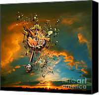 Minute Digital Art Canvas Prints - Gods dusk Canvas Print by Franziskus Pfleghart