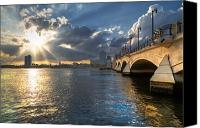 Florida Bridge Canvas Prints - Gods Light Over West Palm Beach Canvas Print by Debra and Dave Vanderlaan