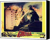 1956 Movies Canvas Prints - Godzilla, King Of The Monsters, 1956 Canvas Print by Everett