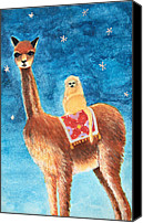 Llama Mixed Media Canvas Prints - Goin For a Ride Canvas Print by Heather M Nelson