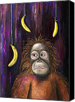 Orangutan Painting Canvas Prints - Going Bananas Canvas Print by Leah Saulnier The Painting Maniac