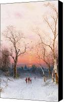 Snowy Trees Painting Canvas Prints - Going Home Canvas Print by Nils Hans Christiansen