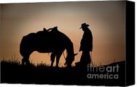 Cowboy Photo Canvas Prints - Going Home Canvas Print by Sandra Bronstein